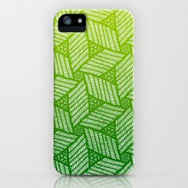 Japanese style wood carving pattern in green iPhone Case
