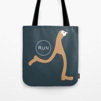 run Tote Bags featuring Run by Natallia Pavaliayeva