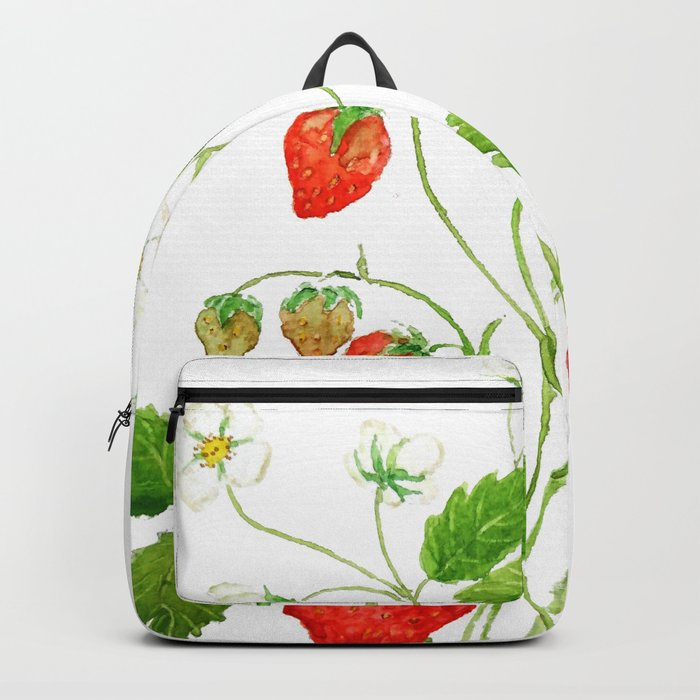 strawberry and strawberry flowers watercolor painting Backpack