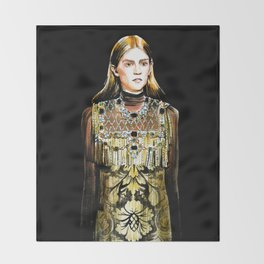 fashion 30: girl in golden dress with pearl Throw Blanket