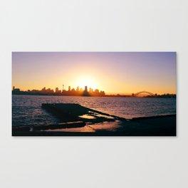 Sydney setting from Bradley's Head. Sydney harbour. Australia Canvas Print
