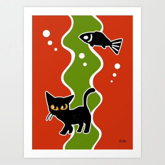 Fish and cat Art Print
