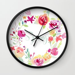 Spring wreath Wall Clock