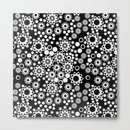 Black / white fishnet Lace pattern Metal Print