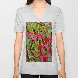Pink Fuchsia Blossoms Unisex V-Neck