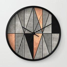 Concrete and Copper Triangles Wall Clock
