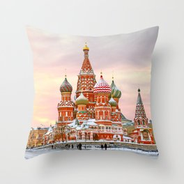 Snowy St. Basil's Cathedral Throw Pillow