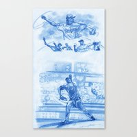 baseball Canvas Prints featuring Baseball by Samantha H Agastin