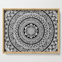 "Hypnotic Dotwork Flower Of Life Mandala - ""Barriers"" Serving Tray"
