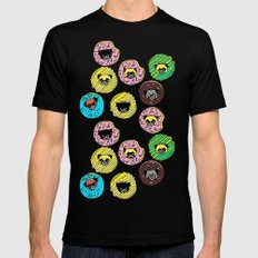 Pug Donuts Mens Fitted Tee Black SMALL