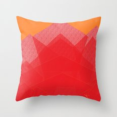 Colorful Red Abstract Mountain Throw Pillow