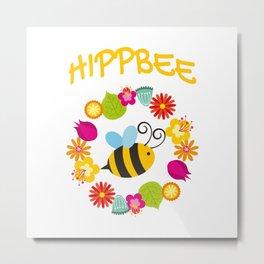 Hippie Bee Metal Print