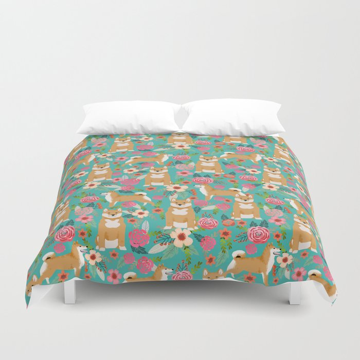 Shiba Inu floral dog breed pet art must have gifts pure bred shiba inus doggo Duvet Cover