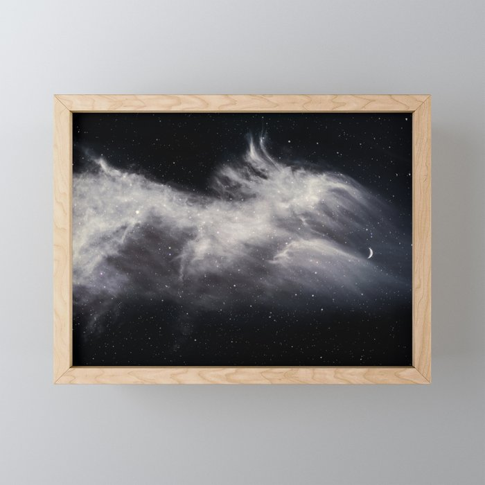 Moon and Clouds Framed Mini Art Print