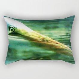 Heron Diving For Food Rectangular Pillow