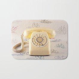 The yellow retro telephone  Bath Mat
