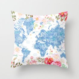 Blue and hot pink floral watercolor world map with cities Throw Pillow