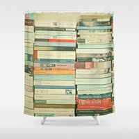 laptop Shower Curtains featuring Bookworm by Cassia Beck