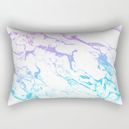White marble purple blue turquoise ombre watercolor mermaid pattern Rectangular Pillow