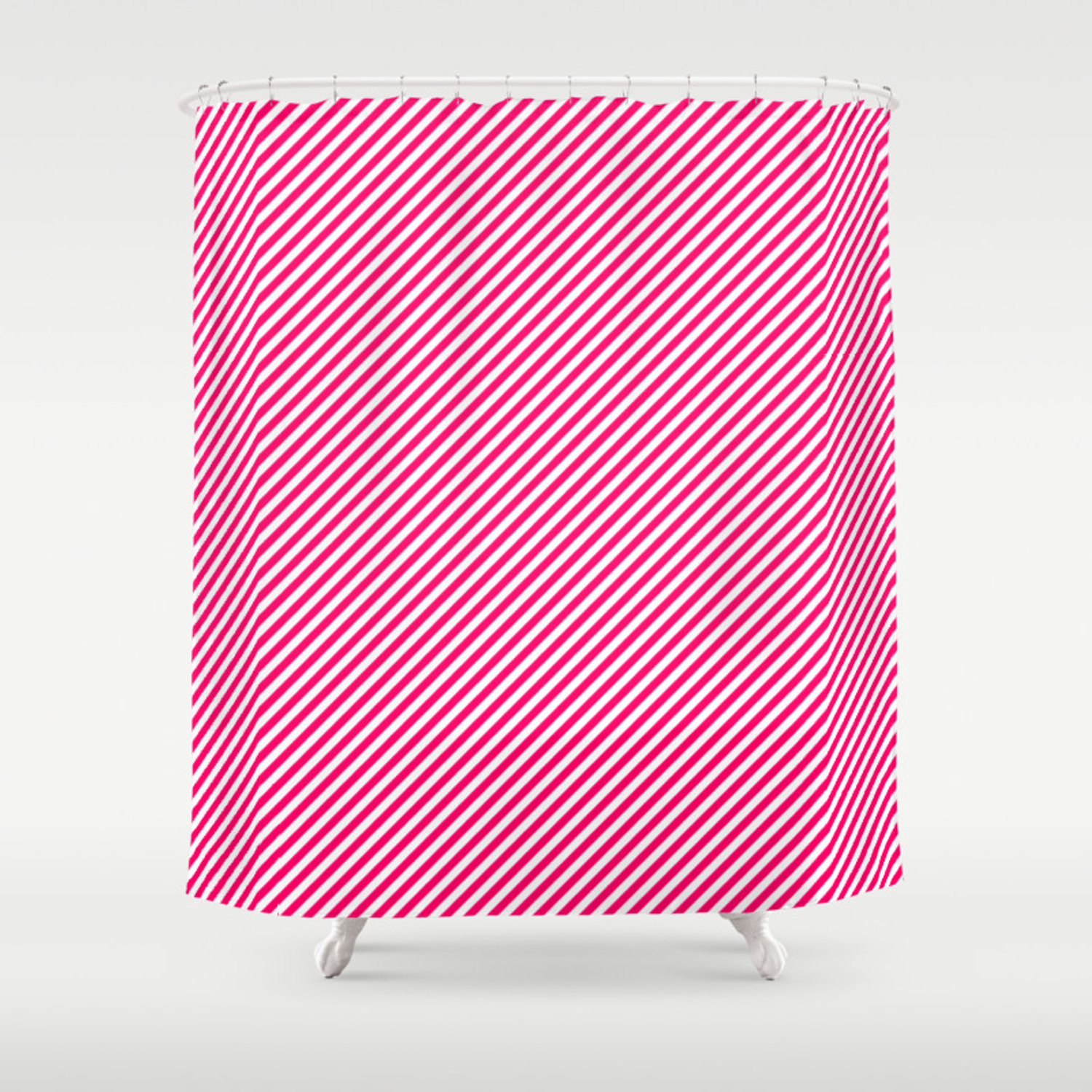 Mini Hot Neon Pink And White Candy Cane Stripes Shower Curtain