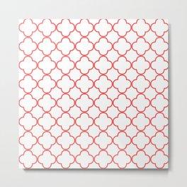 Quatrefoil (Salmon & White Pattern) Metal Print