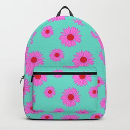 Pink and Mint Echinacea Floral Print Backpack