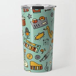 Music instruments sketch,seamless pattern Travel Mug