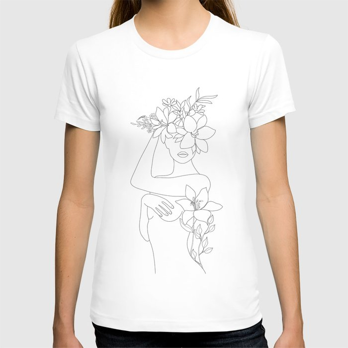 Minimal Line Art Woman with Flowers VI T-shirt