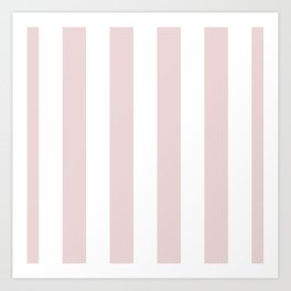 Alice Pink and White Wide Vertical Cabana Stripes Art Print