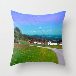 Country road, powerlines, and lots of scenery Throw Pillow