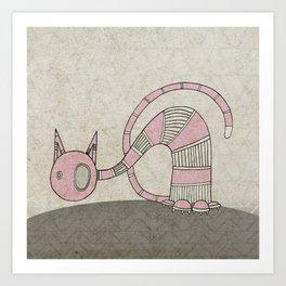 Pink Curious Cat I Art Print