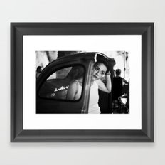 night-time bar portrait Framed Art Print