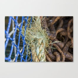 Lobster pots, rope and nets Canvas Print