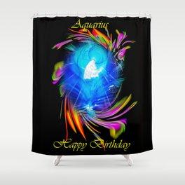 Zodiac sign Aquarius  Happy Birthday Shower Curtain