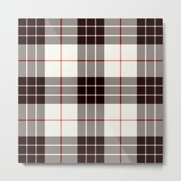 White Tartan with Black and Red Stripes Metal Print