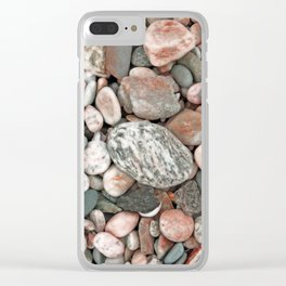 Gray, Pink and Salmon Beach Stones Clear iPhone Case