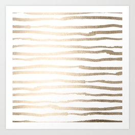 White Gold Sands Painted Lines Art Print