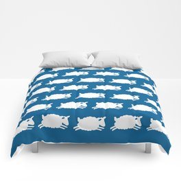 Counting Sheep. White on Blue. Comforters
