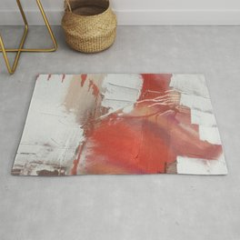 California Sun: a minimal, abstract piece in reds and gold by Alyssa Hamilton Art Rug