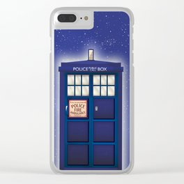 vintage police box starfield Clear iPhone Case