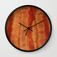 bacon Wall Clocks featuring BACON by ....