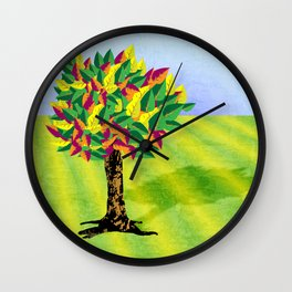 Autumn tree in a field Wall Clock