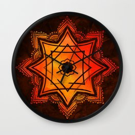 Watercolor Star of Lakshmi - Ashthalakshmi Wall Clock