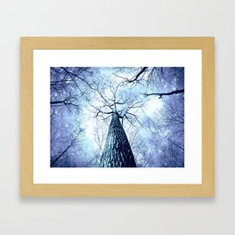 Wintry Trees Periwinkle Ice Blue Space Framed Art Print