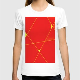 Luxury red and yellow geometric lines pattern for home decoration T-shirt