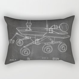 Nasa Mars Rover Patent - Mars Exploration Rover Art - Black Chalkboard Rectangular Pillow