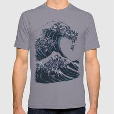 The Great Wave of Black Pug Slate Mens Fitted Tee X-LARGE