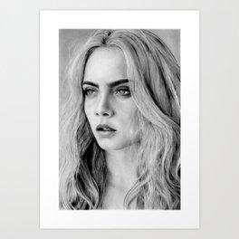 Cara Delevigne portrait Art Print