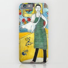 Man with cat in the kitchen Slim Case iPhone 6s