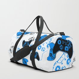 Video Game White and Blue Duffle Bag